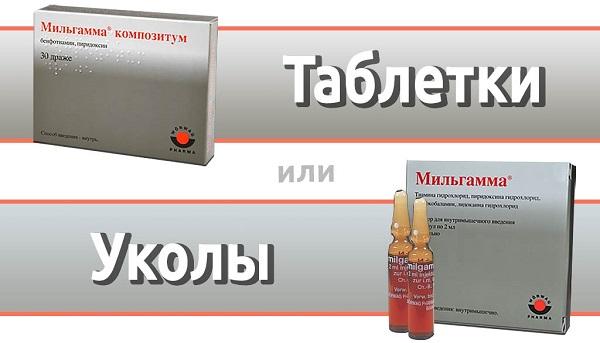Таблетки и уколи Мильгамма